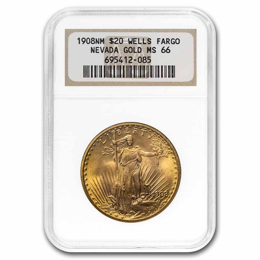 1908 $20 St. Gaudens Gold No Motto MS-66 NGC