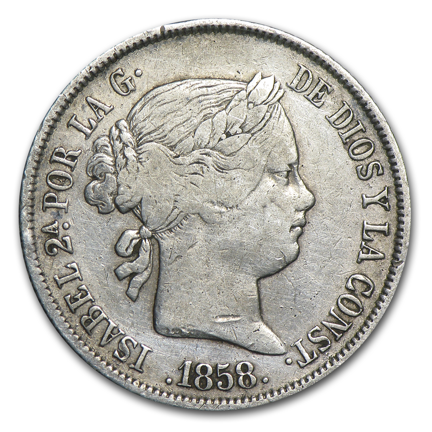 Spain 1858 Silver 4 Reales Isabel II VF