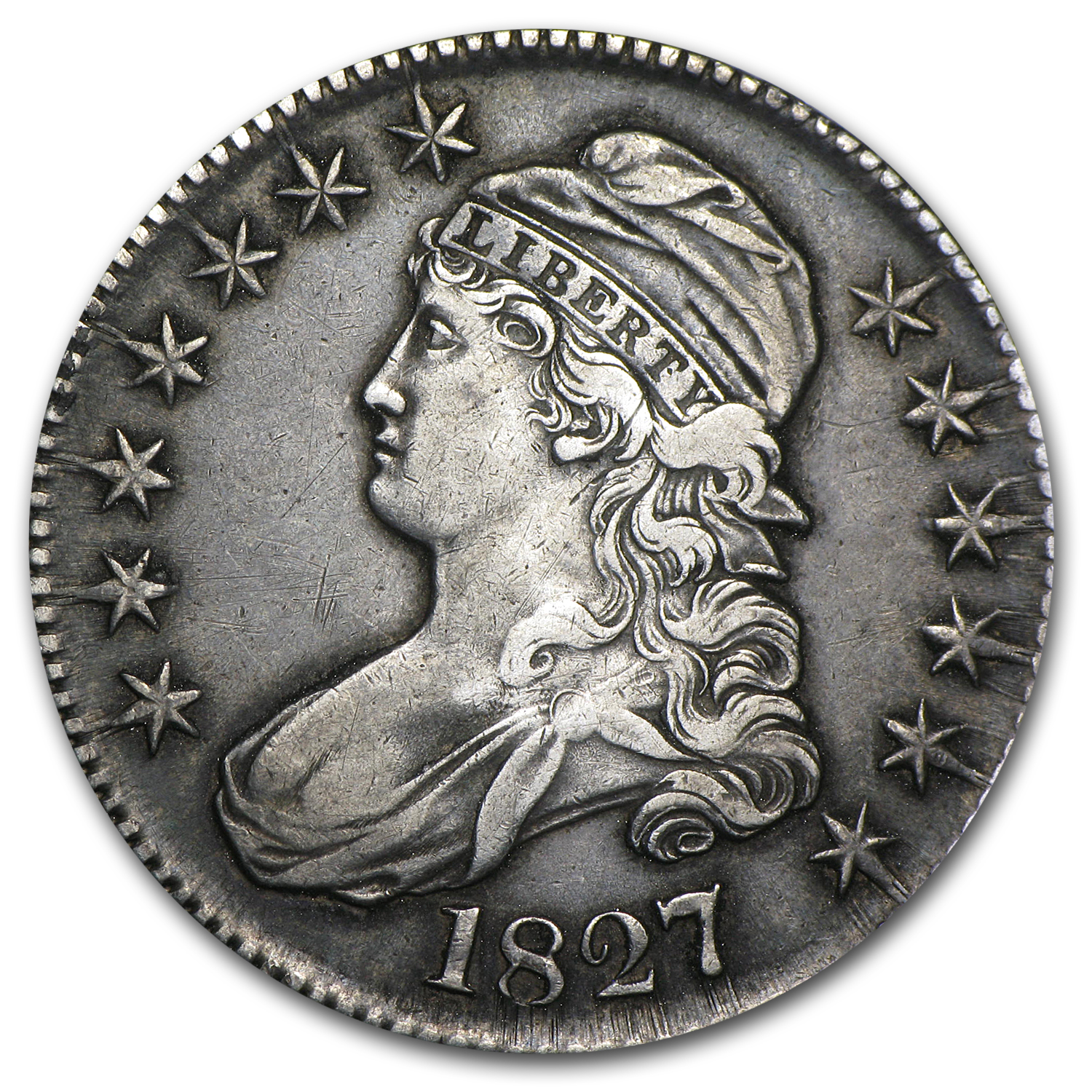 1827-P Extra Fine - Square Base 2 Capped Bust Half Dollar