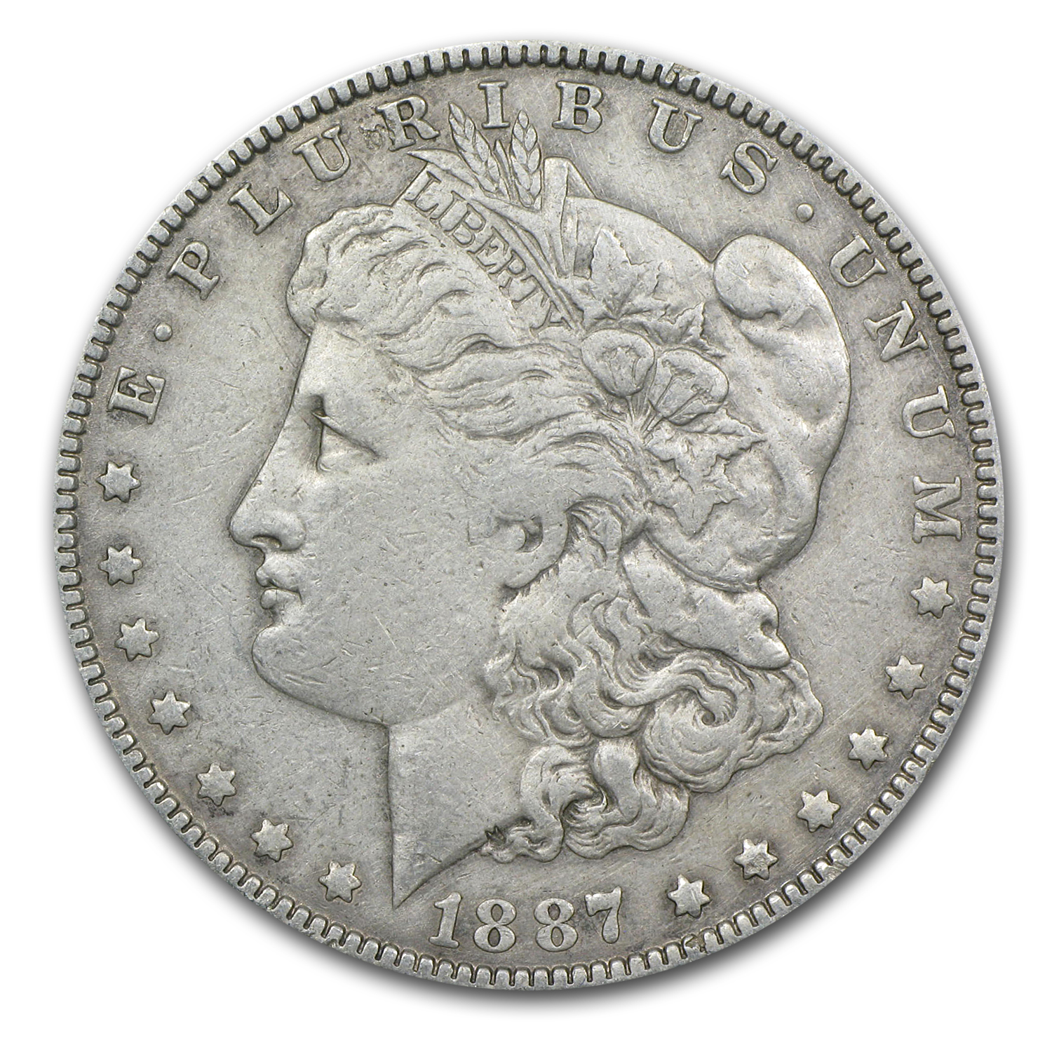 1887 Morgan Dollar VF Details (VAM-1A, Donkey Tail, Cleaned)