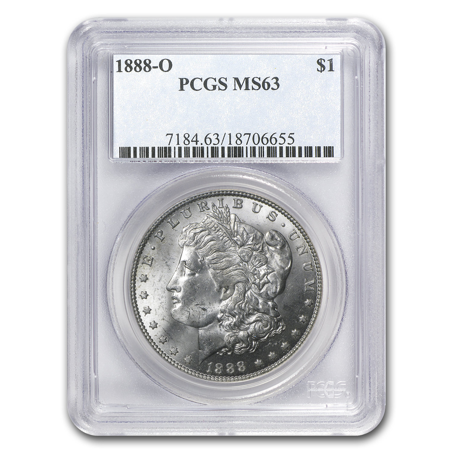 1888-O MS-63 PCGS (VAM-1B, Early Scarface Die State)