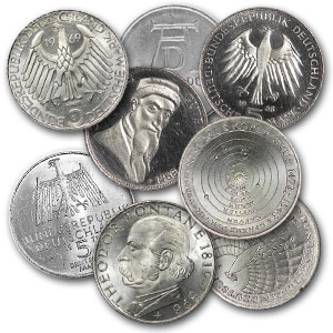 Germany 1951-1979 5 Mark Silver AU/BU ASW .225