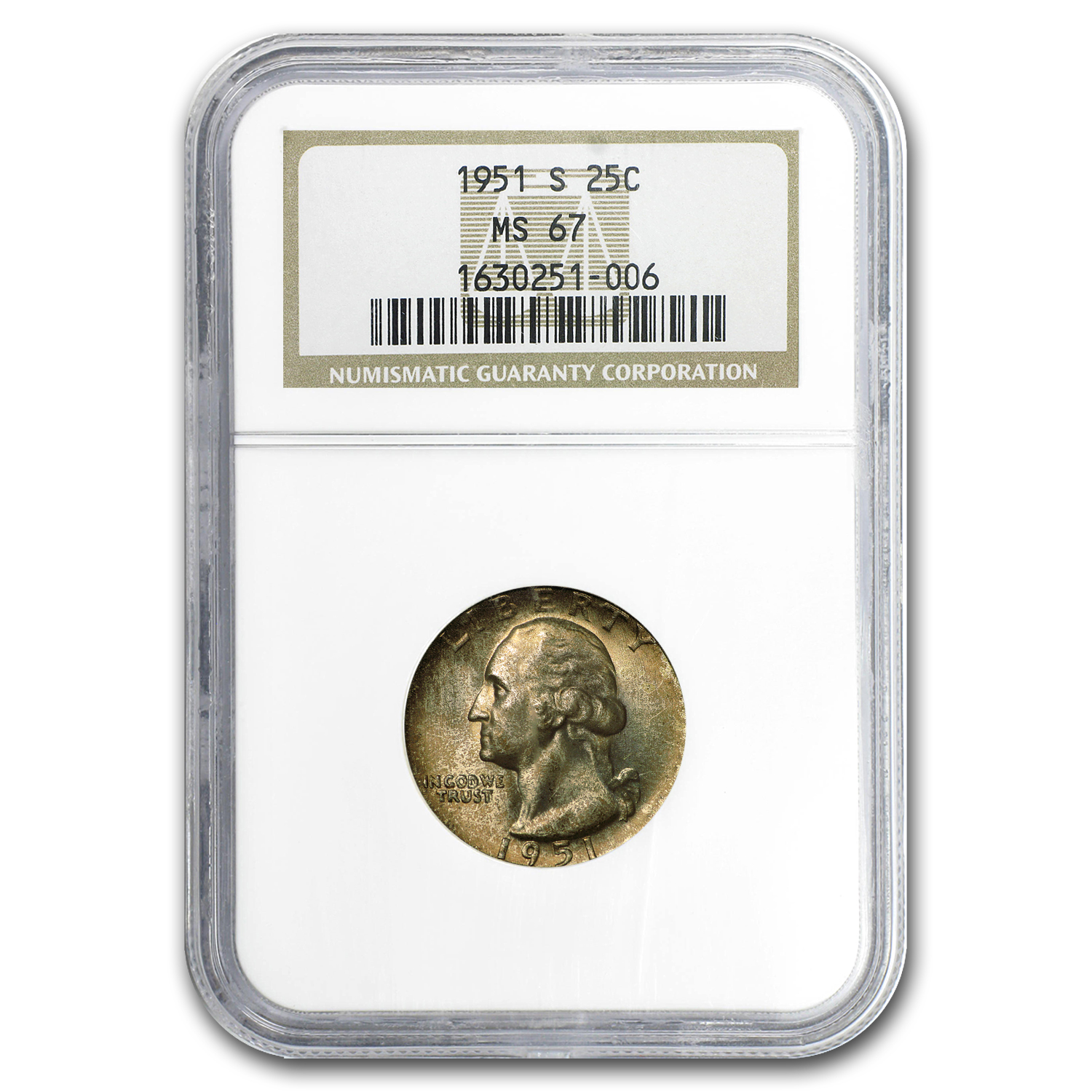 1951-S Washington Quarter MS-67 NGC (Toned)