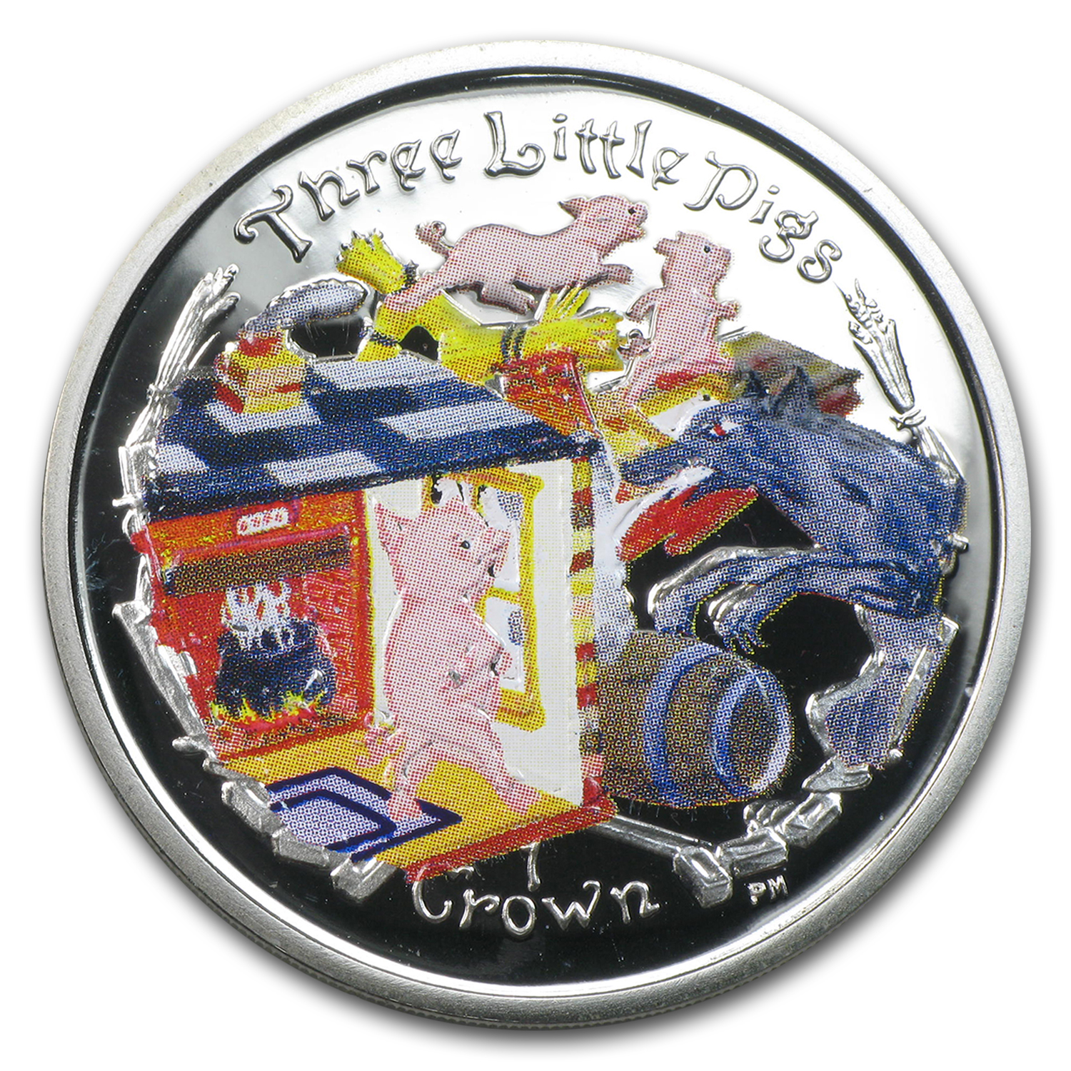 2007 Isle of Man Silver 1 Crown Three Little Pigs Proof