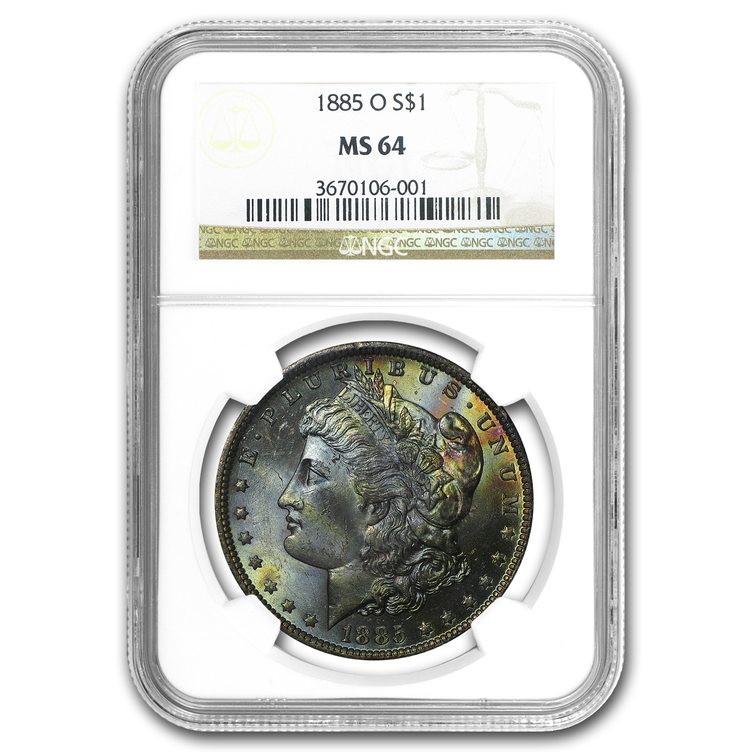 1885-O Morgan Dollar MS-64 NGC (Nice Obverse Toning)