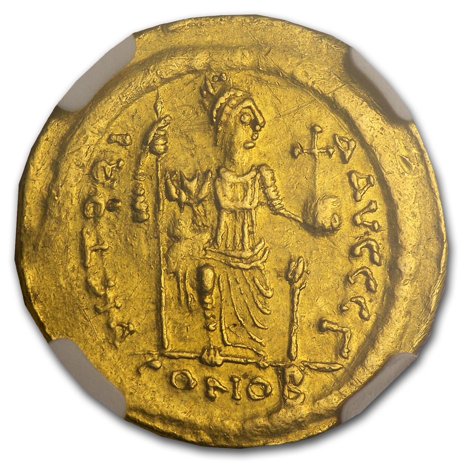 Byzantine Gold Solidus Emperor Justin II AU NGC (565-578 AD)