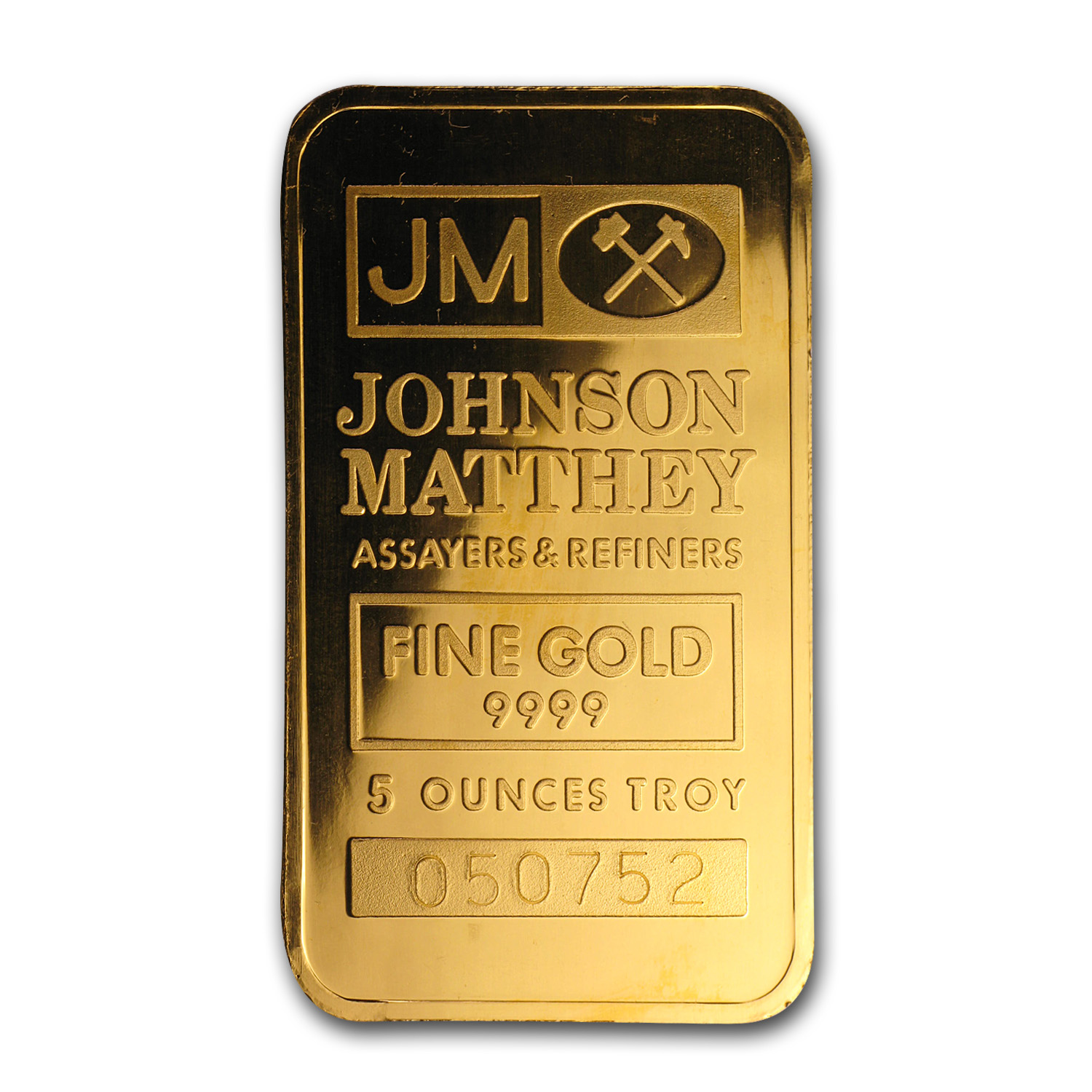 5 oz Gold Bars - Johnson Matthey (Logo Back)