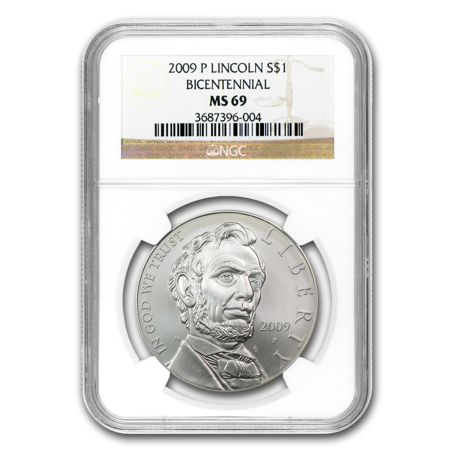 2009-P Abraham Lincoln $1 Silver Commem MS-69 NGC