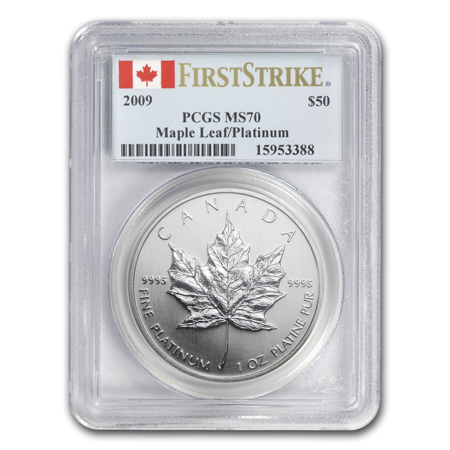 2009 1 oz Canadian Platinum Maple Leaf MS 70 PCGS (First Strike)