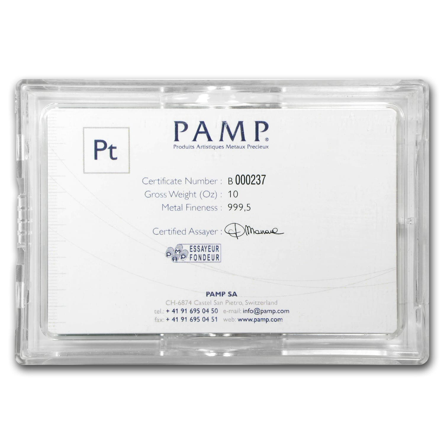 10 oz Pamp Suisse Platinum Bar (w/Assay) .999+ Fine