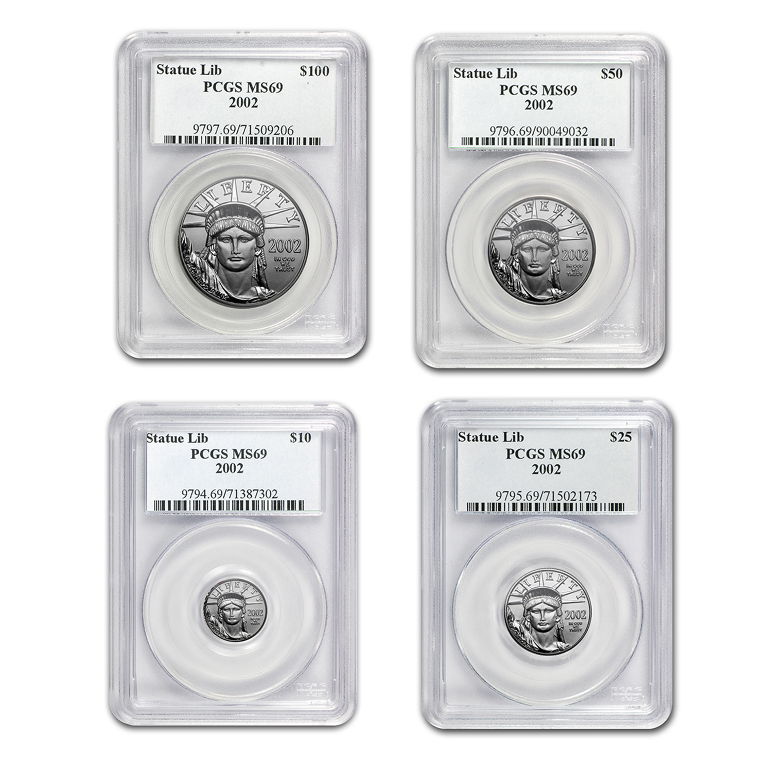 2002 4-Coin Platinum American Eagle Set MS-69 PCGS