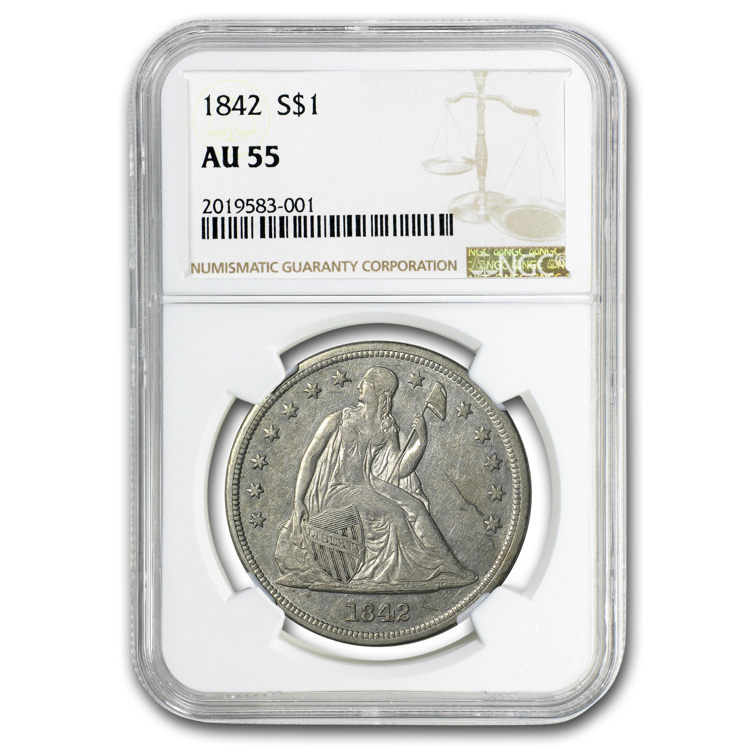 1842 Liberty Seated Dollar AU-55 NGC