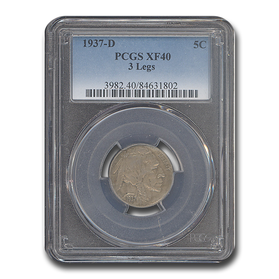 1937-D 3 Legged Buffalo Nickel XF-40 PCGS