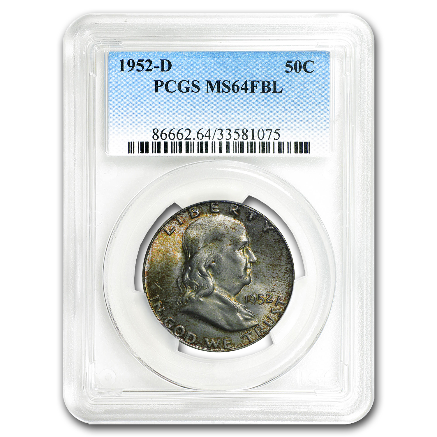 1952-D Franklin Half Dollar MS-64 PCGS (FBL, Toned)