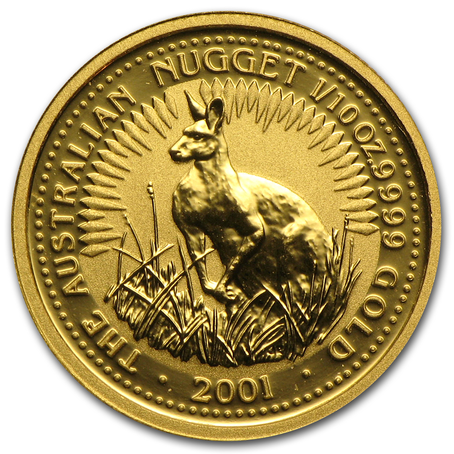 2001 Australia 1/10 oz Gold Nugget