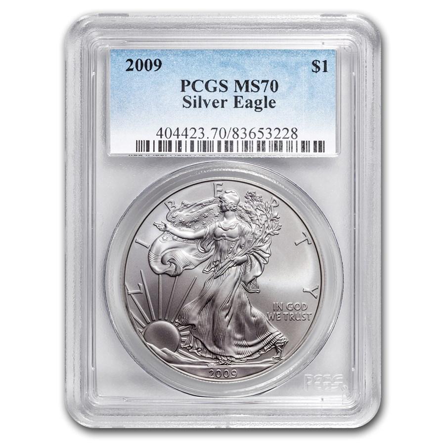 2009 Silver American Eagle Ms 70 Pcgs Silver Eagles