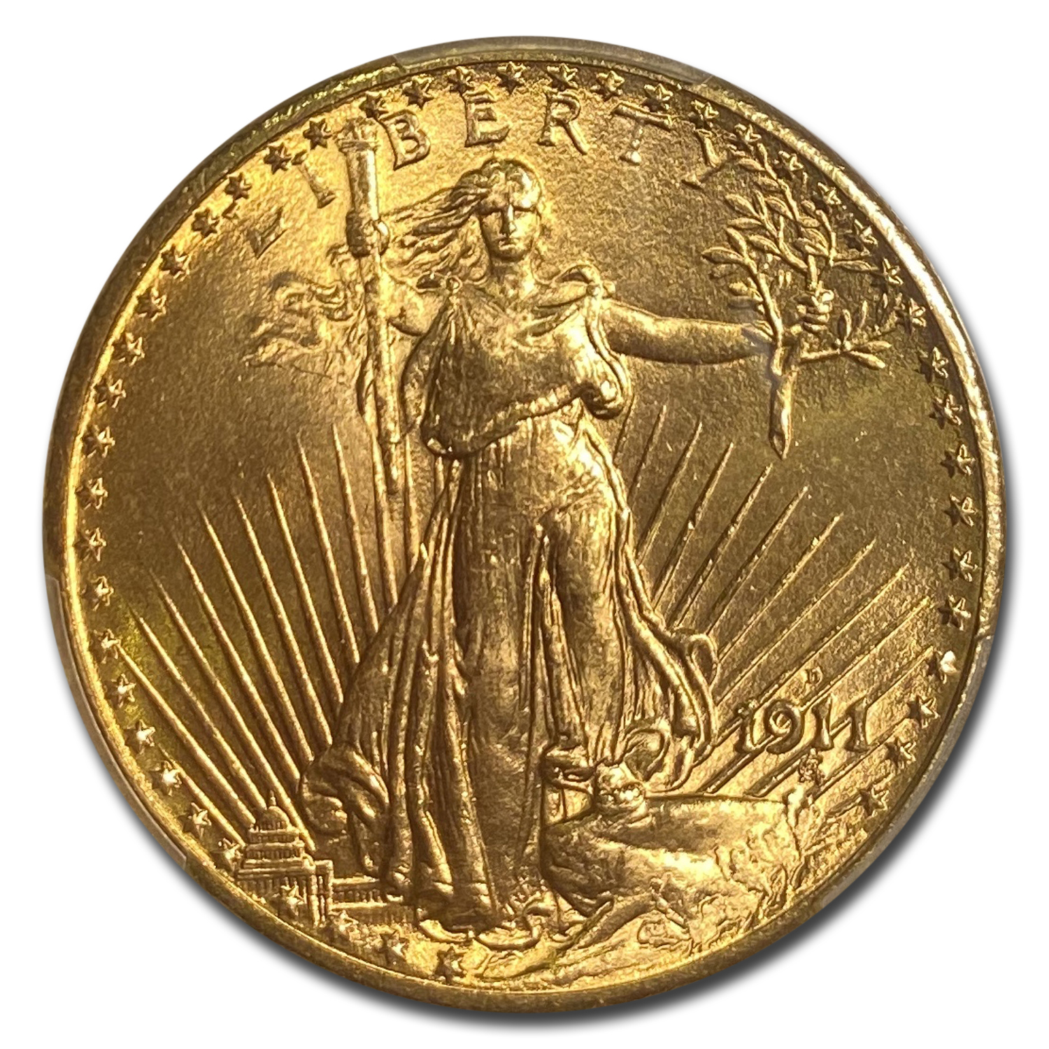 1911-D $20 St. Gaudens Gold Double Eagle MS-66 PCGS