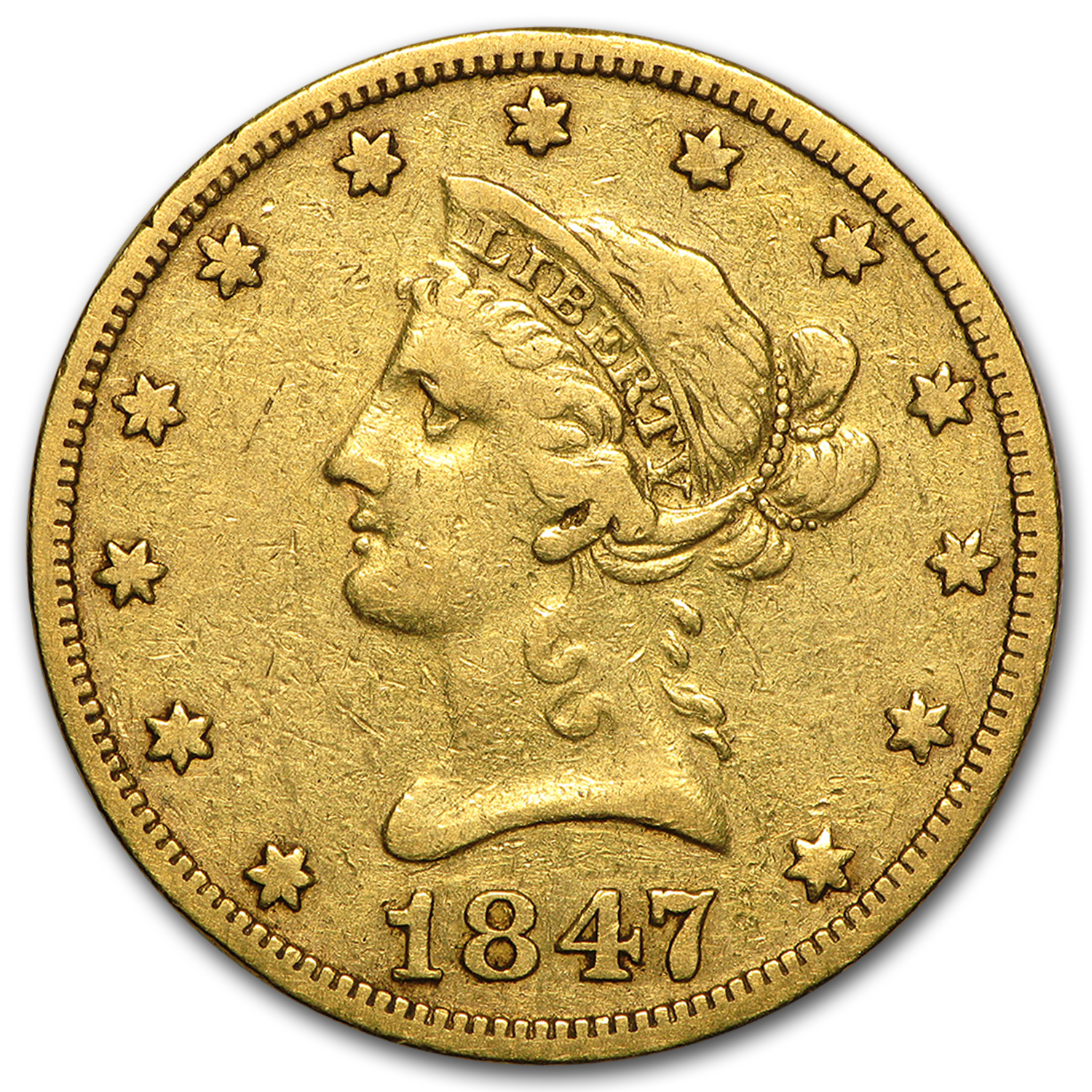 1847-O $10 Liberty Gold Eagle VF