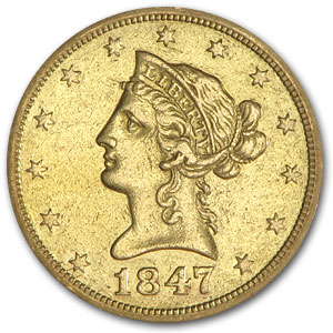 1847-O $10 Liberty Gold Eagle - Almost Uncirculated Details