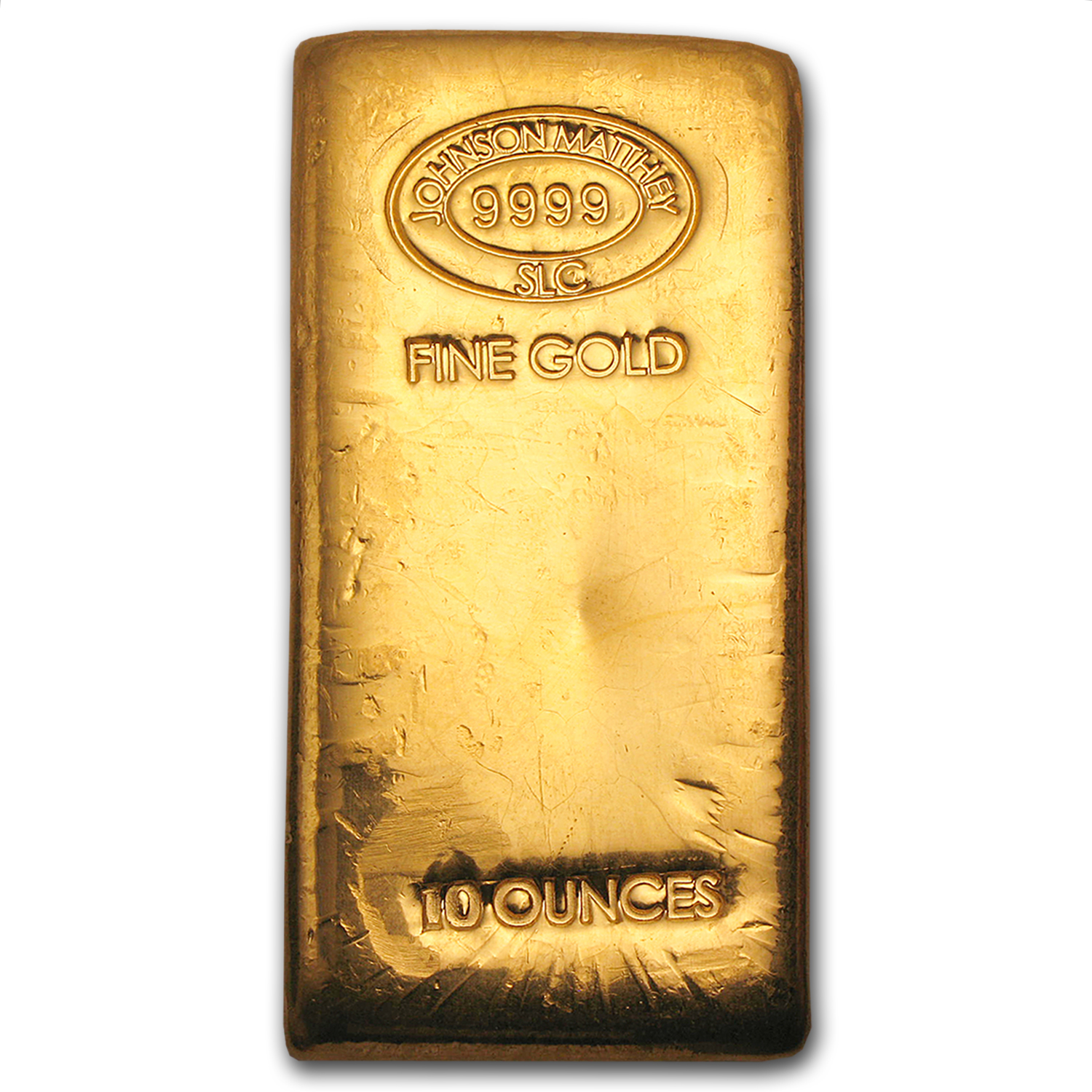 10 oz Gold Bar - Johnson Matthey (New, Poured)