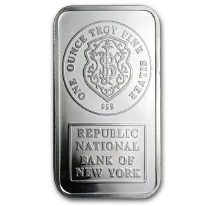 1 oz Silver Bar - Johnson Matthey (Republic National Bank of NY)