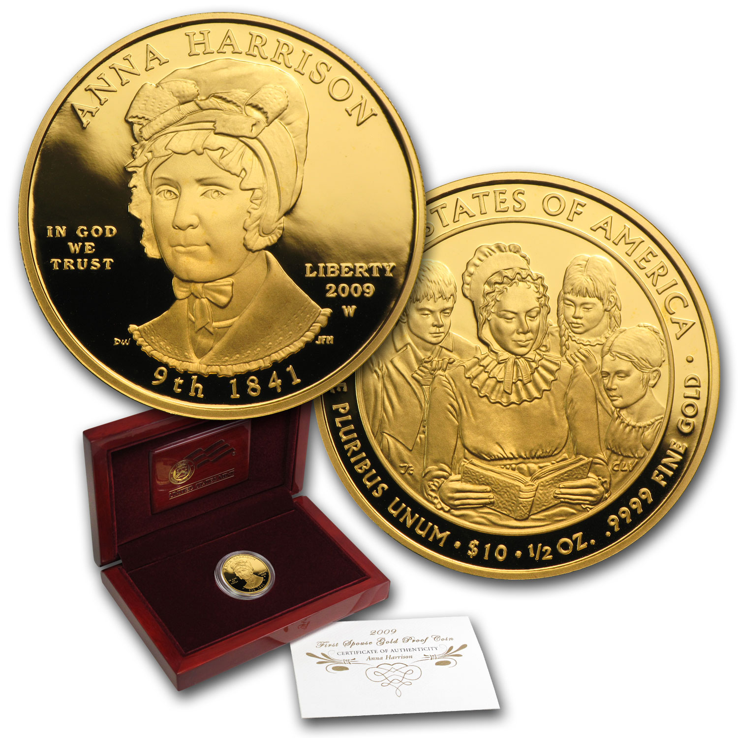 2009-W 1/2 oz Proof Gold Anna Harrison (w/Box & COA)