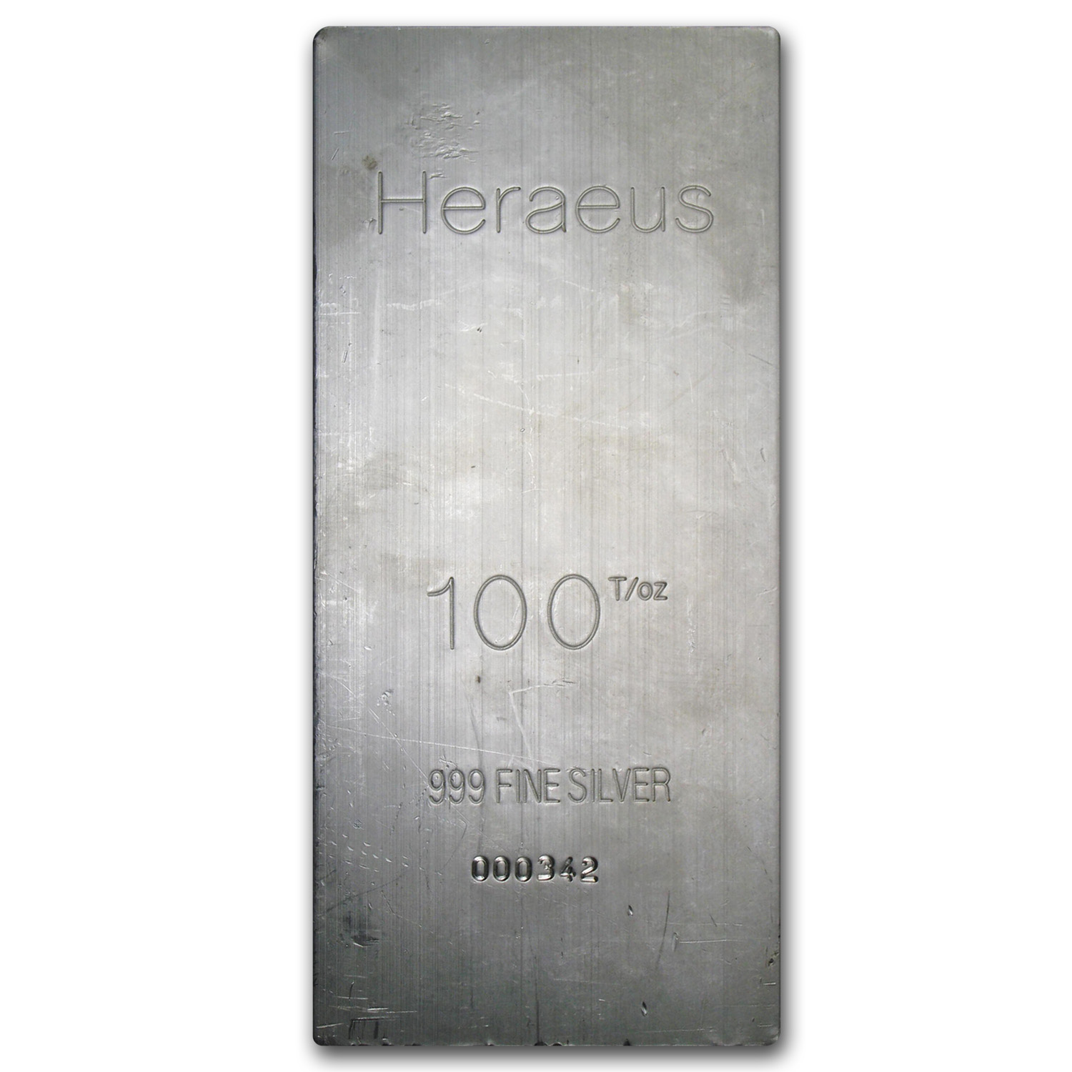 100 oz Silver Bar - Heraeus (Extruded)