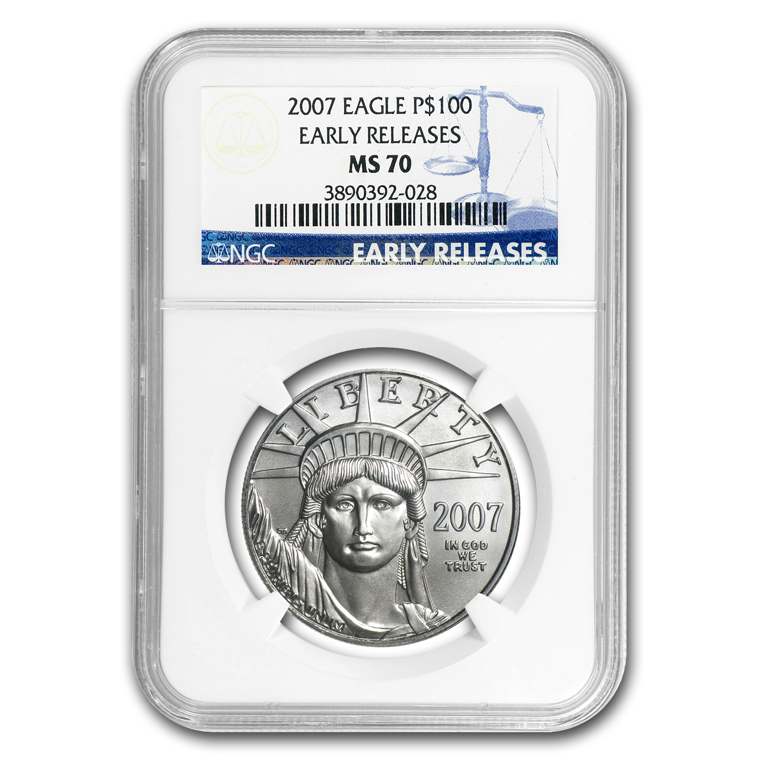 2007 4-Coin Platinum American Eagle Set MS-70 NGC