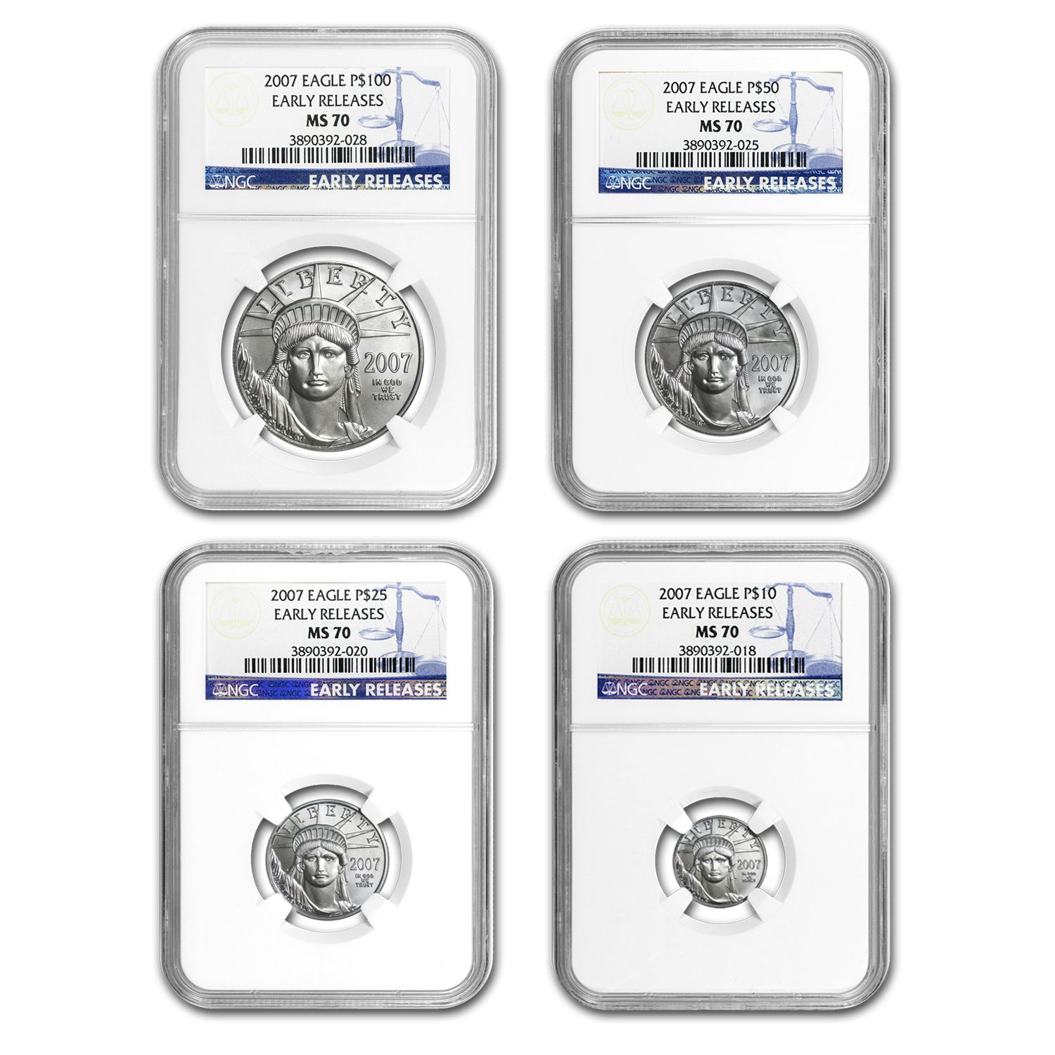 2007 4-Coin Platinum American Eagle Set MS-70 NGC (ER)