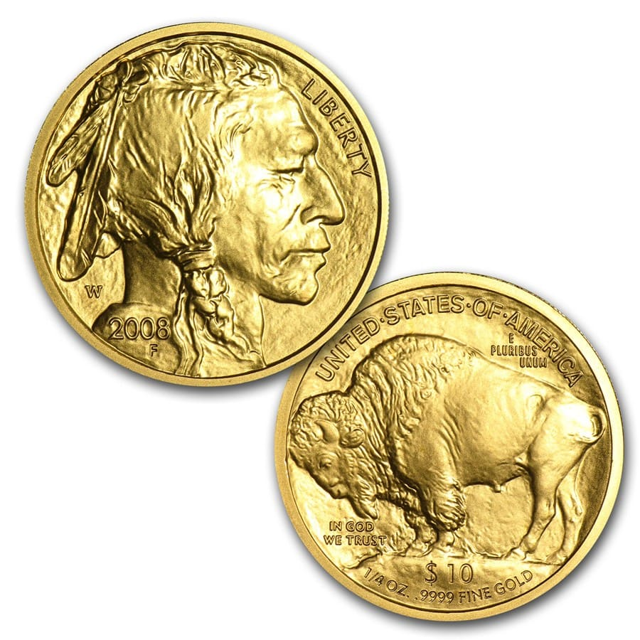 2008-W 4-Coin Uncirculated Gold Buffalo Set (w/Box & CoA)