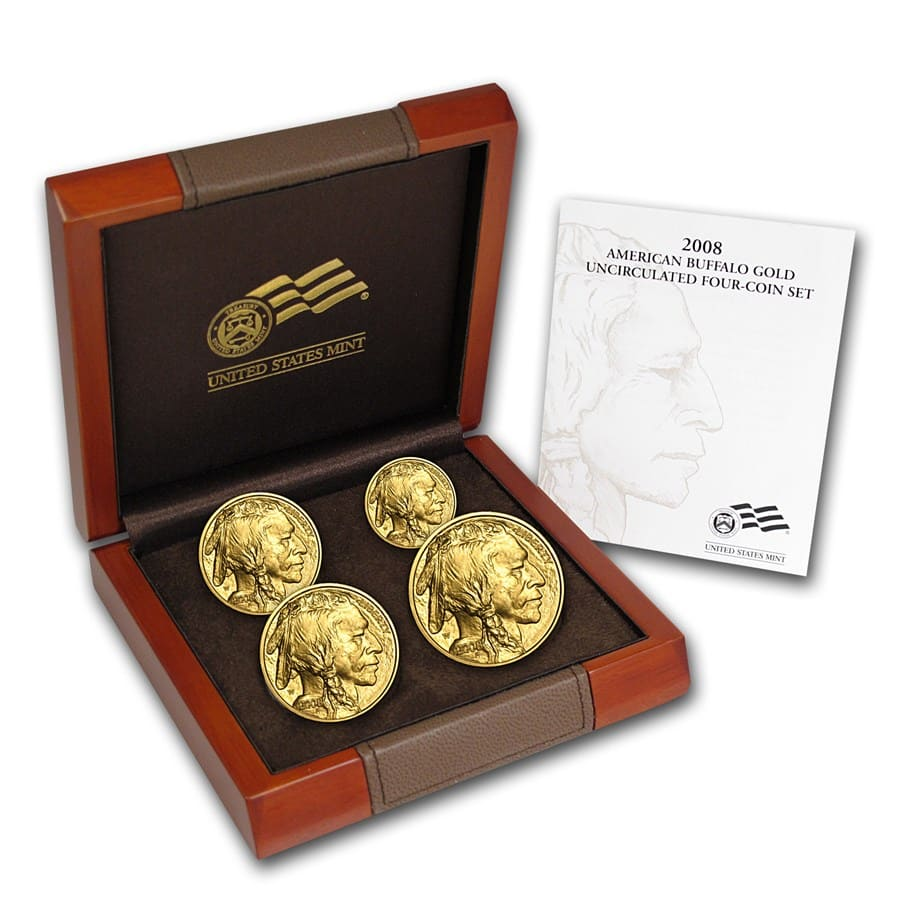 2008-W 4-Coin Gold Buffalo Set BU (w/Box & COA)