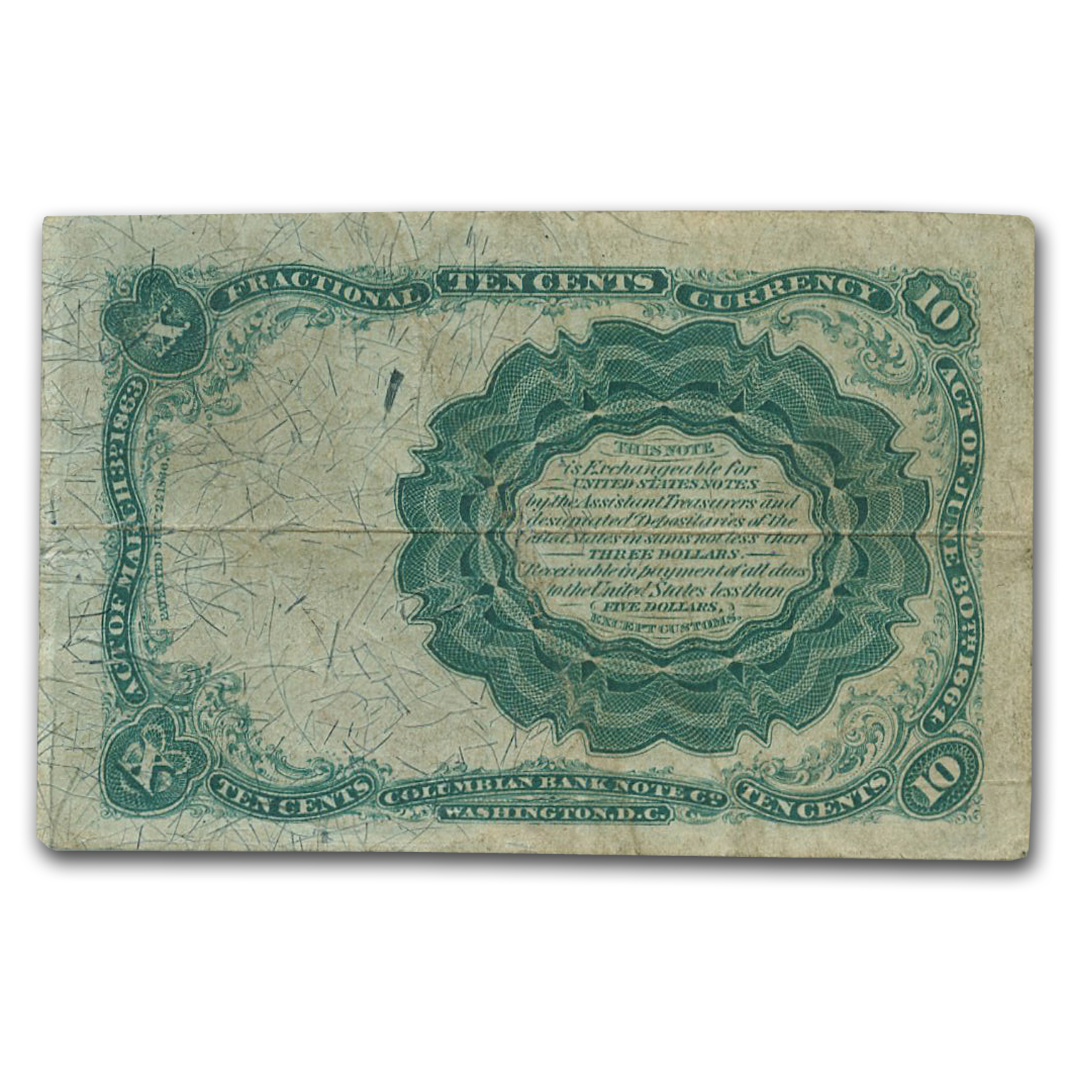 5th Issue Fractional Currency 10 Cents Fine (FR#1265)