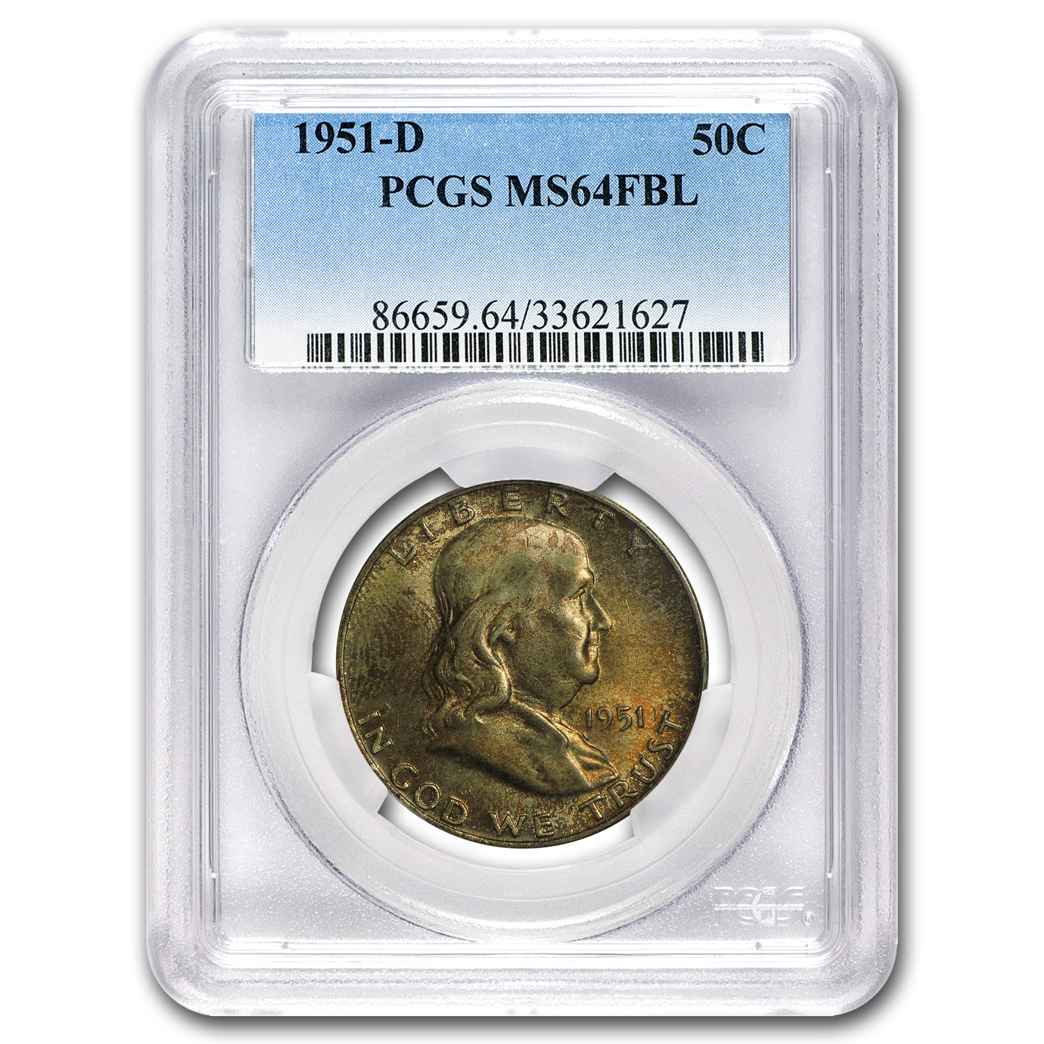 1951-D Franklin Half Dollar MS-64 PCGS (FBL)