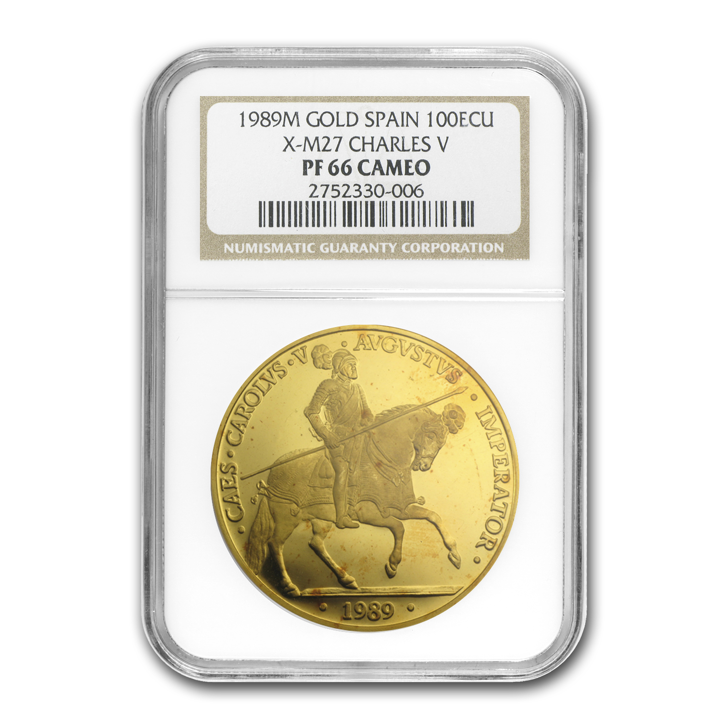 1989 Spain Proof Gold 100 EcuCharles V PF-66 NGC