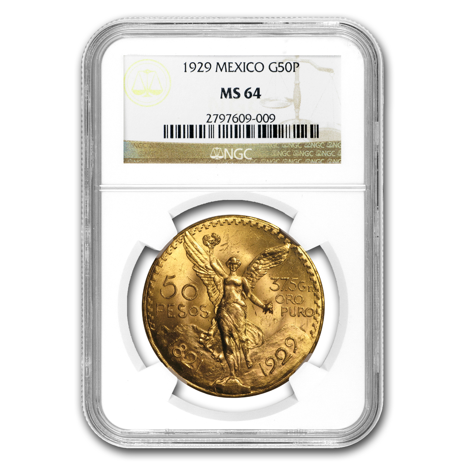 Mexico 1929 50 Pesos Gold Coin - MS-64 NGC