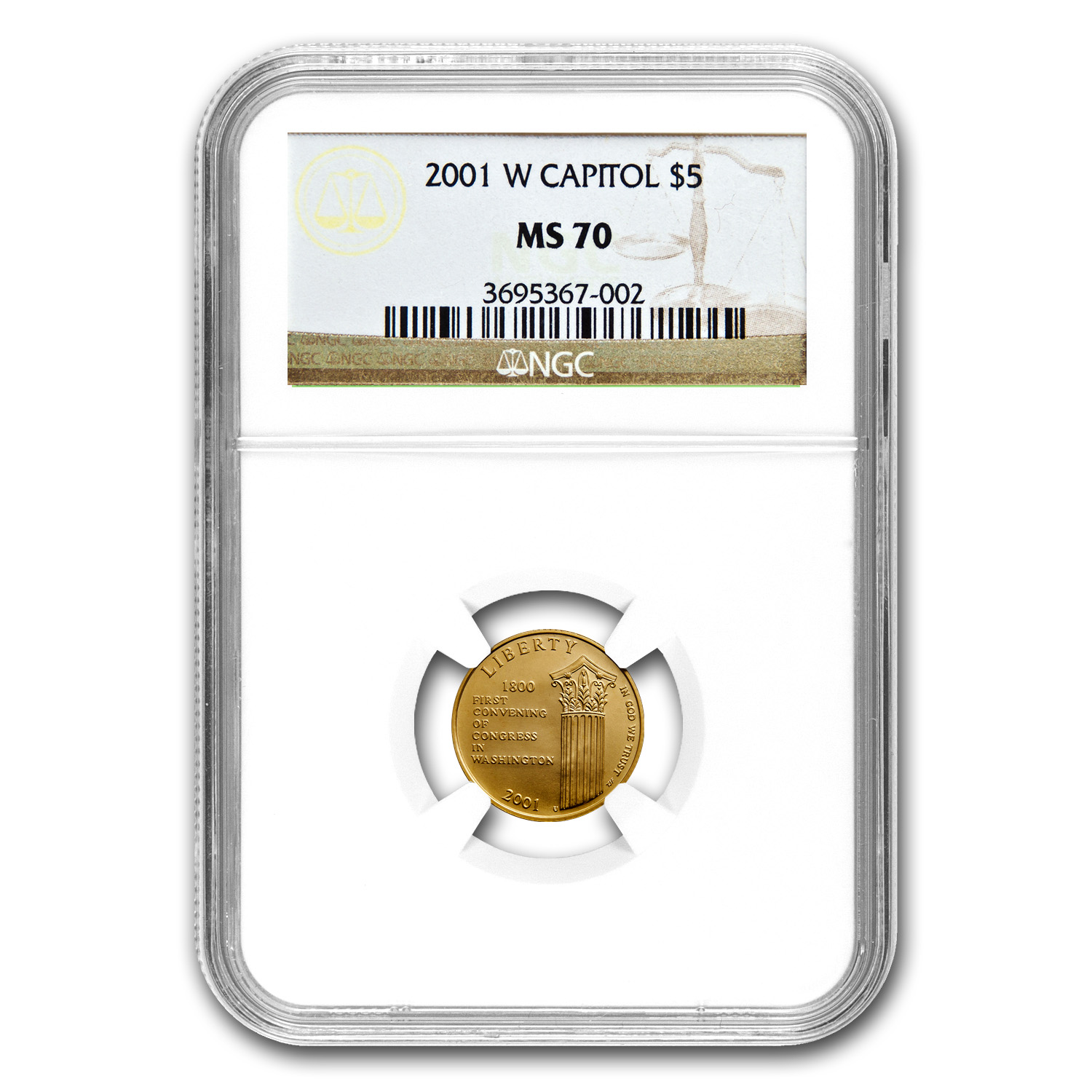 2001-W Gold $5 Commem Capitol Visitor Center MS-70 NGC