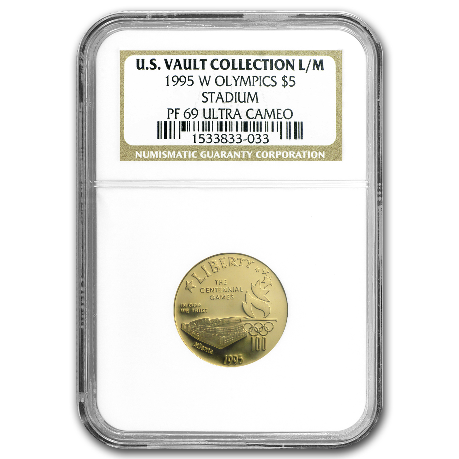 1995-W Gold $5 Commem Olympic Stadium PF-69 NGC (US Vault)