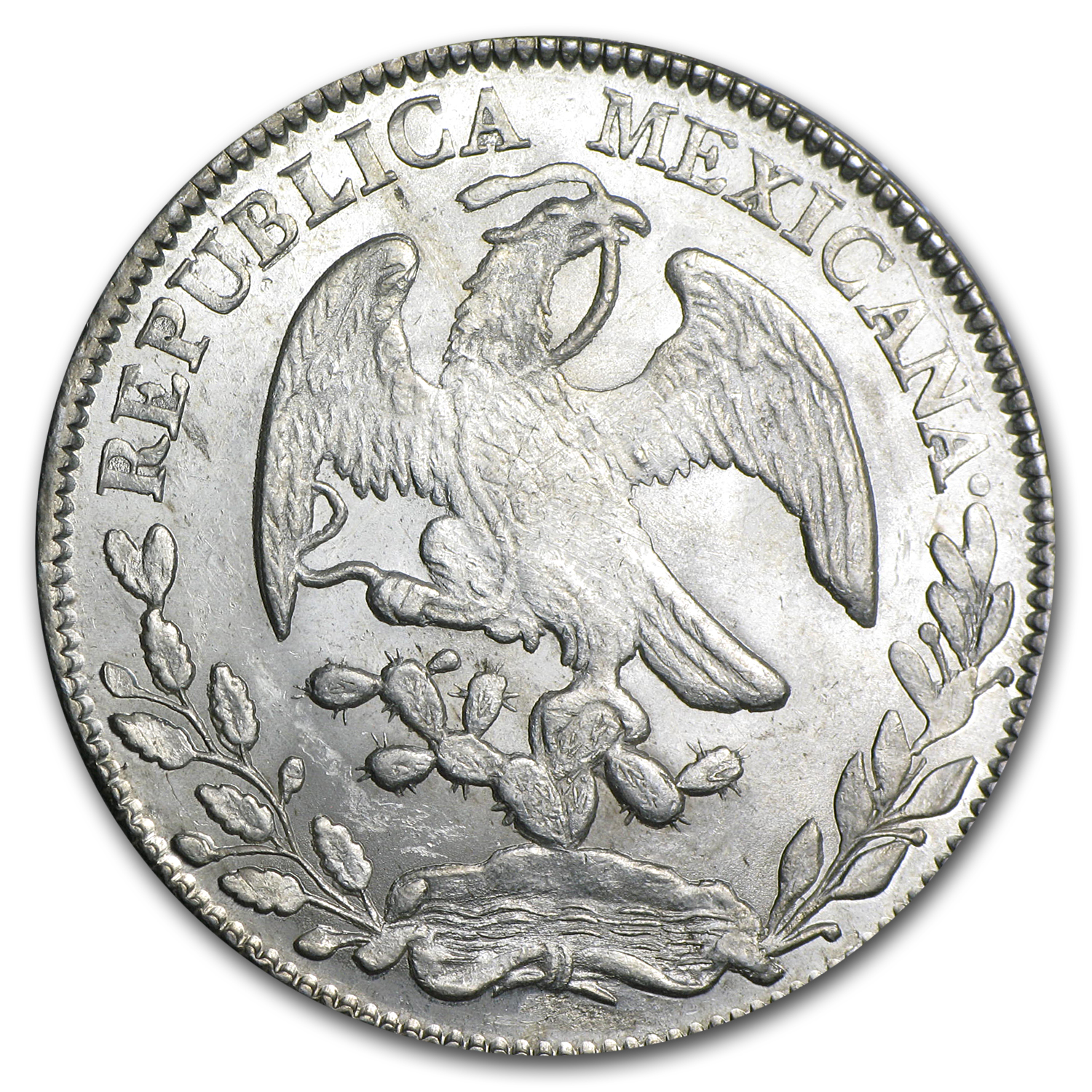 Mexico 1875 Zs J.A. 8 Reales Silver Unc