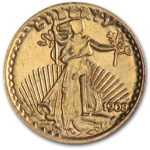 .015 oz Gold Round - $20 Gold Mini Saint Gauden's (.583 Fine)