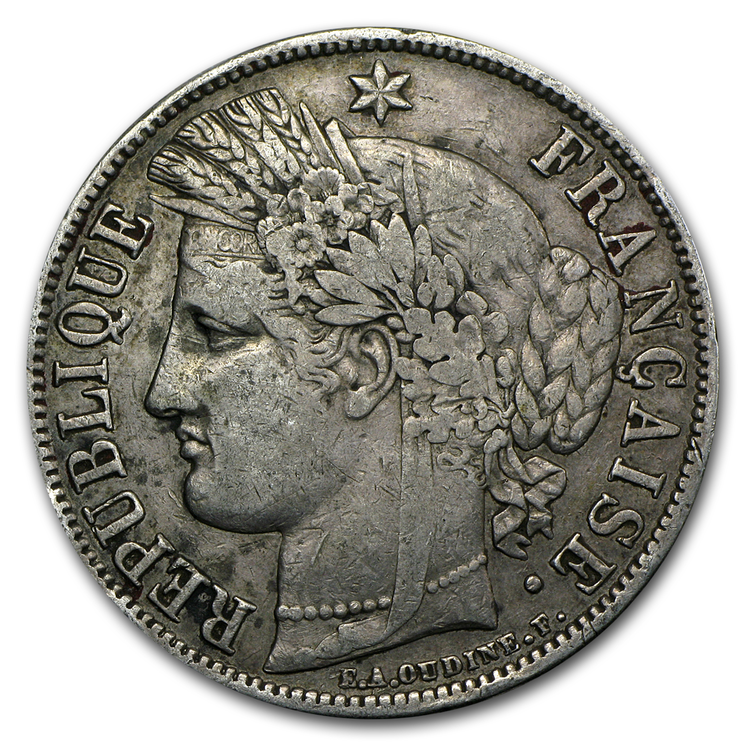 1849-1852 France Silver 5 Francs Ceres Head Average Circ