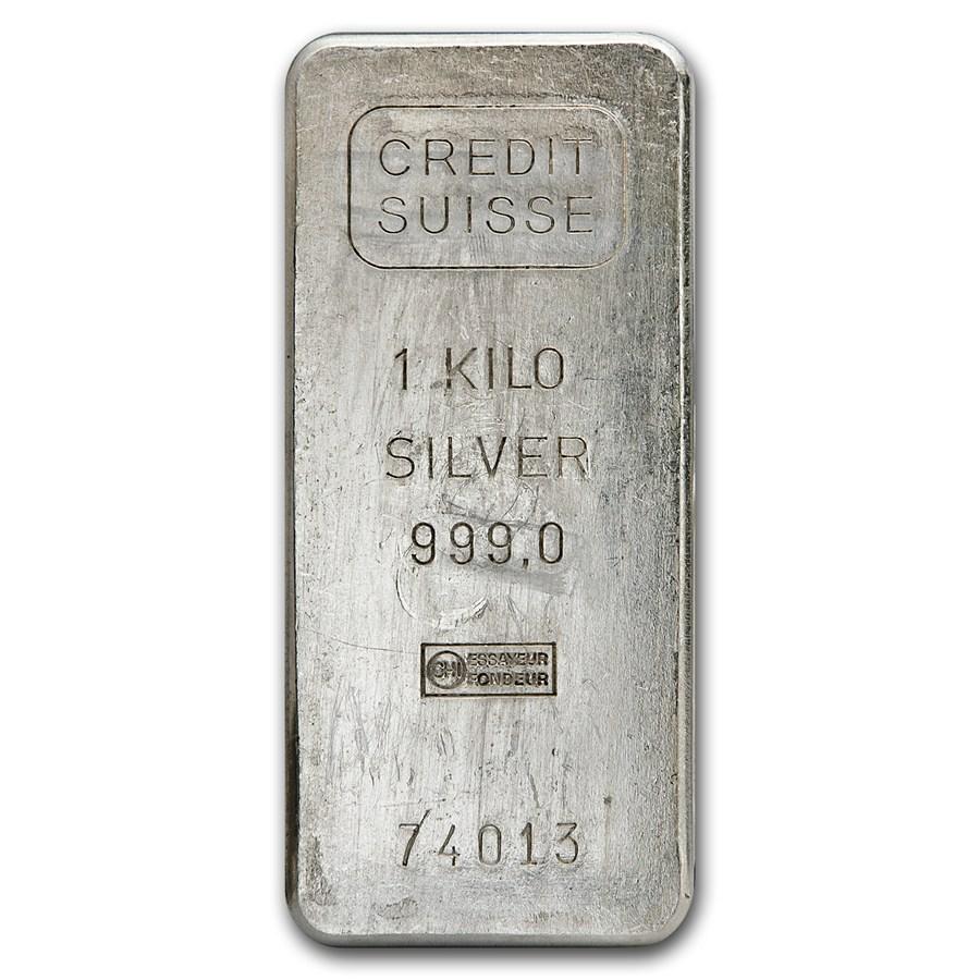 1 Kilo Silver Bar Credit Suisse Kilo 32 15 Oz