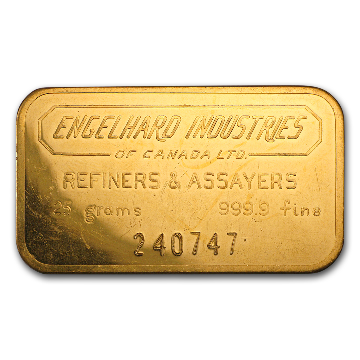 25 gram Gold Bars - Engelhard Industries of Canada