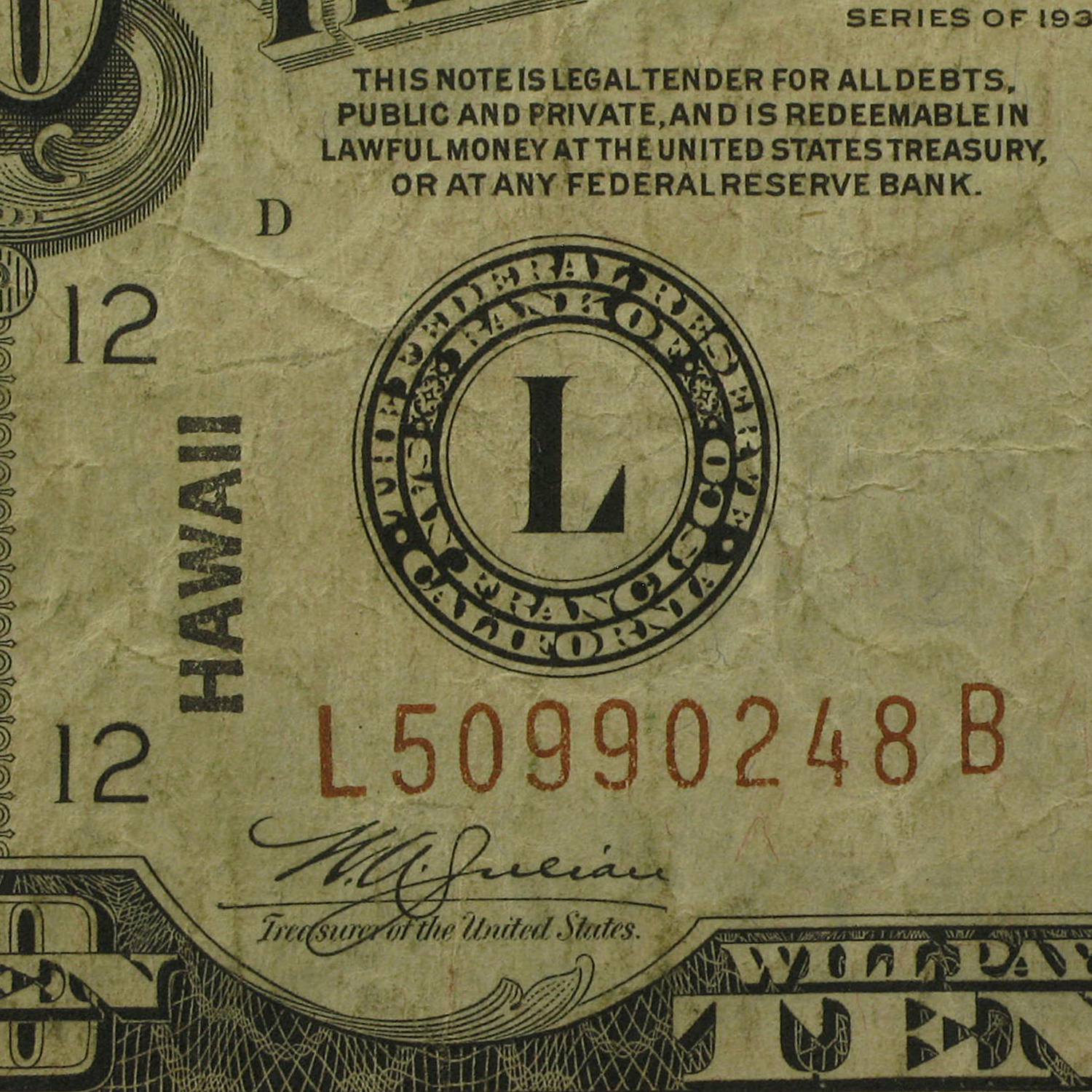 1934-A $10 Brown Seal Hawaii Fine