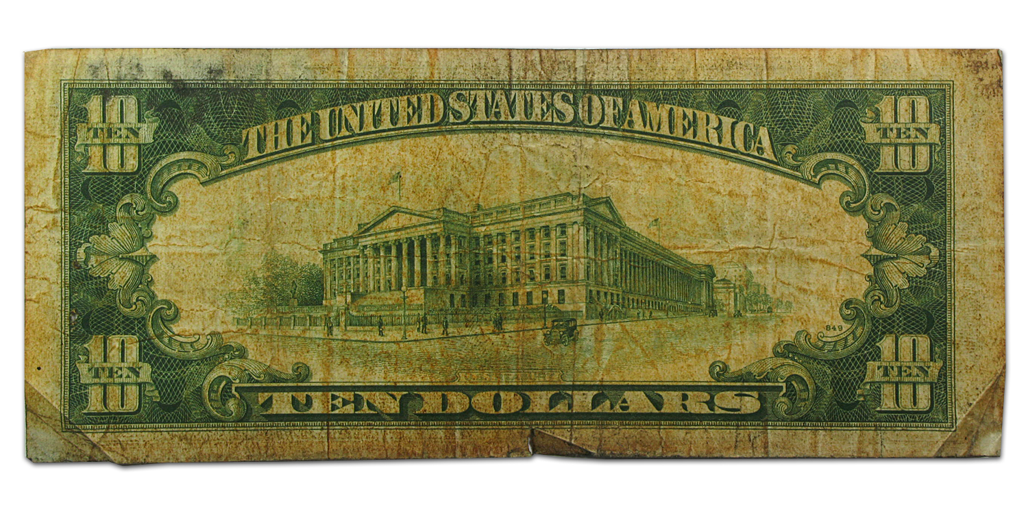 1934-A $10 Silver Certificate Yellow Seal-North Africa Good