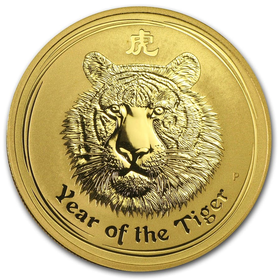 2010 Gold 1 oz Lunar Year of the Tiger BU (Series II)