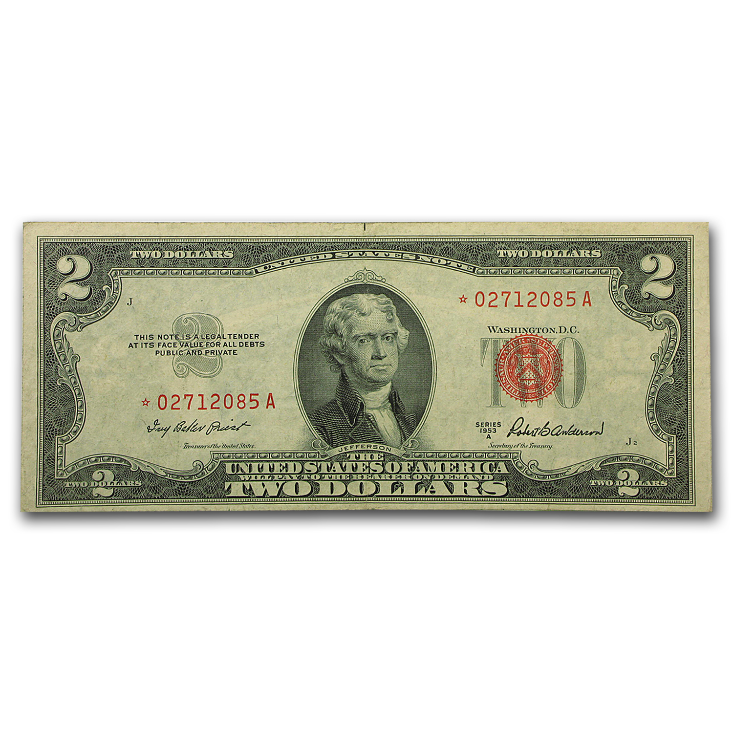 1953-A $2.00 U.S. Notes Red Seal XF (Star Note)