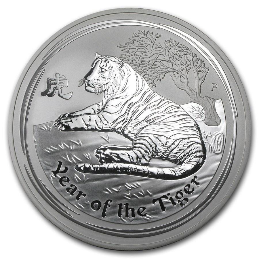 2010 1 2 Kilo Silver Australian Tiger Bu Sii 16 075 Oz