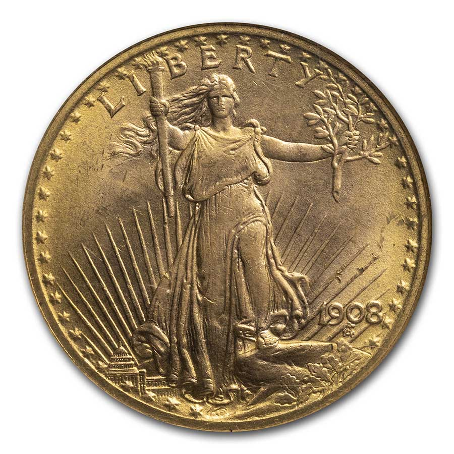 1908 $20 St. Gaudens Gold No Motto MS-66 NGC (Wells Fargo)