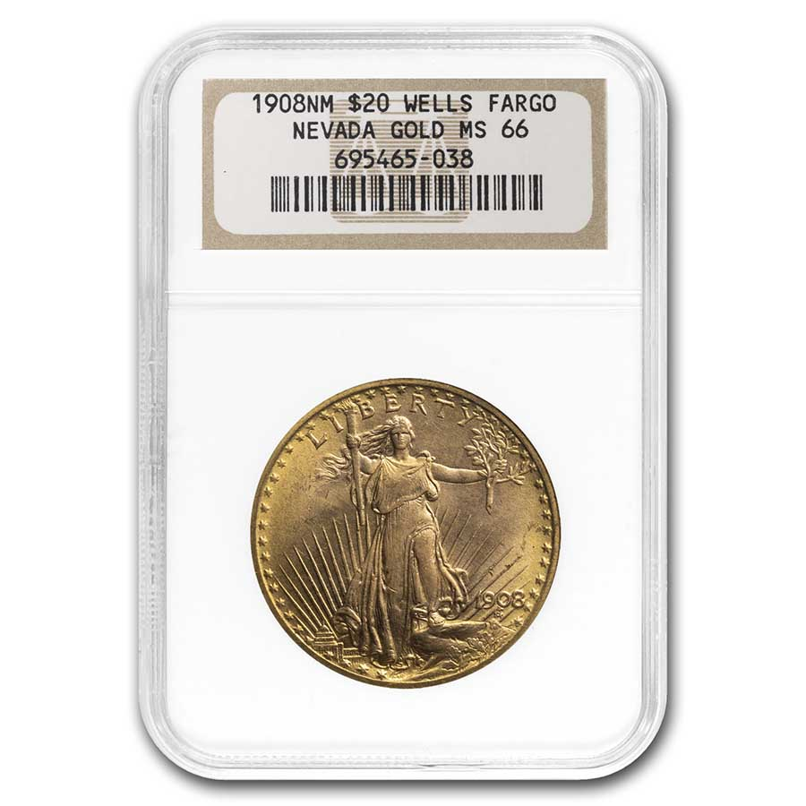 1908 $20 St. Gaudens Gold - No Motto - MS-66 NGC (Wells Fargo)