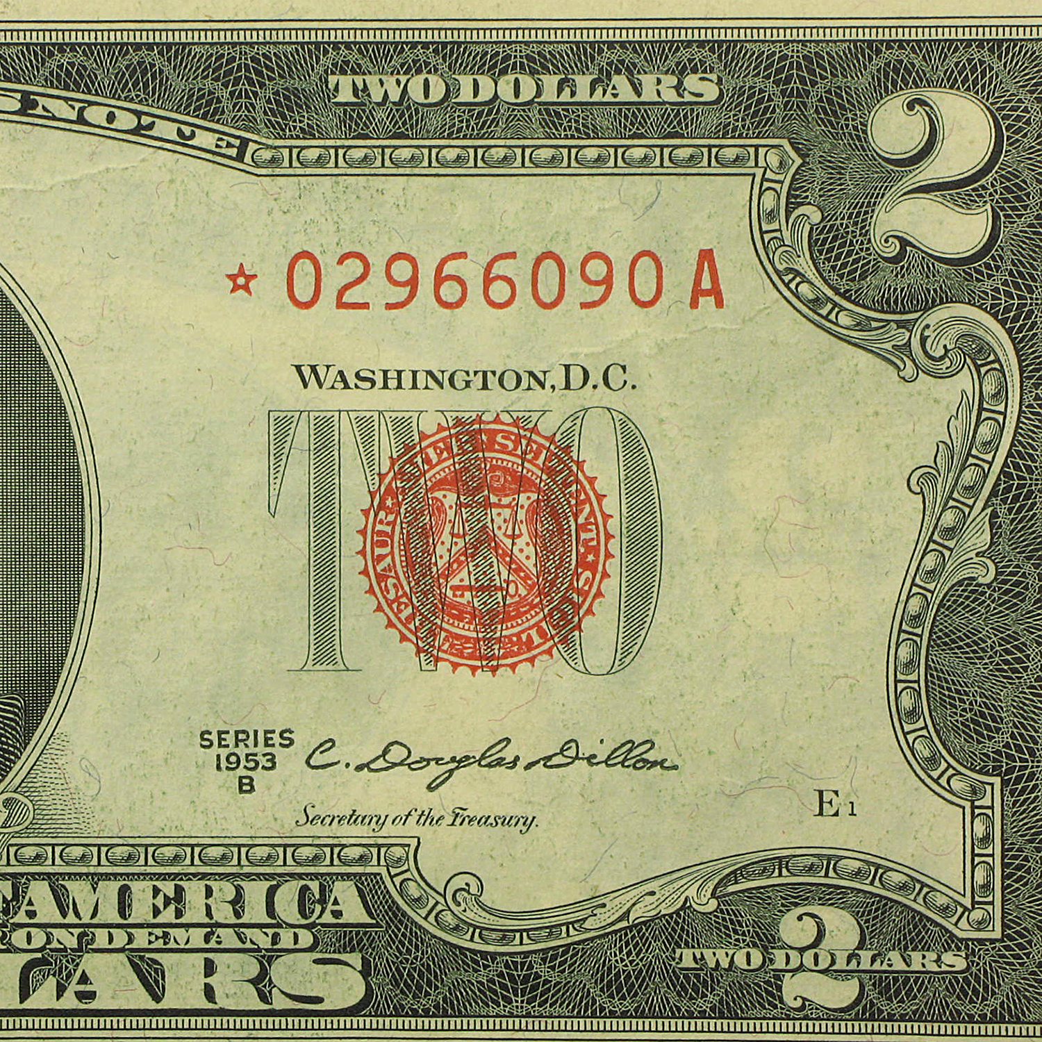 1953-B $2.00 U.S. Notes Red Seal VF (Star Note)